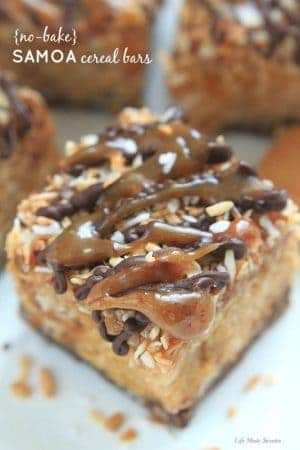 {No-Bake} Samoa Peanut Butter Cereal Bars by ----- @LifeMadeSweeter