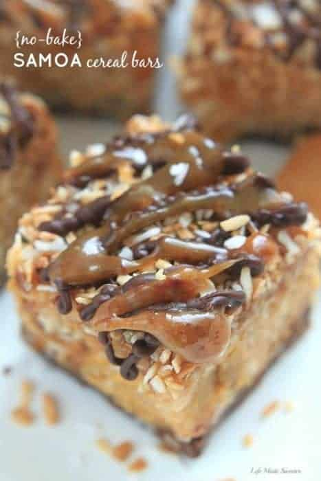 {No-Bake} Samoa Peanut Butter Cereal Bars