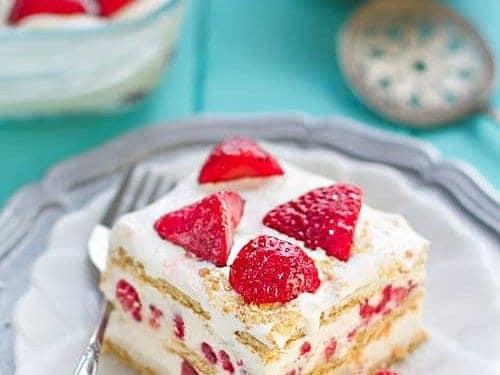 strawberry icebox cake no bake cheesecake filling recipe video
