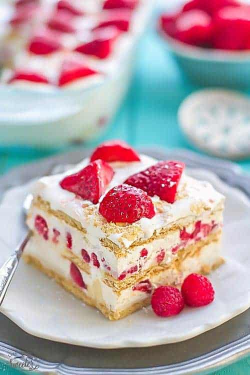 Strawberry Cream Cheese Icebix Cake