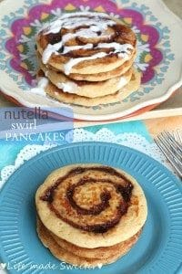 Collage of Nutella Swirl Pancakes on pink and blue plates