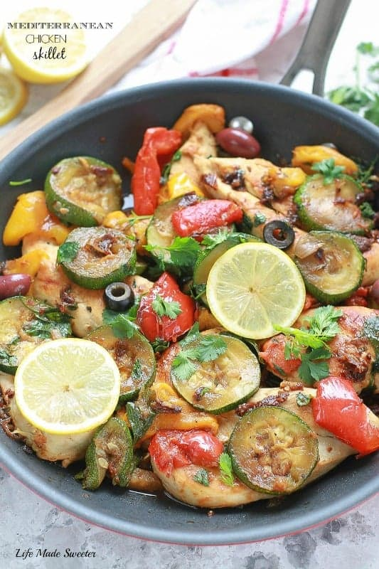 One-Pan Mediterranean Chicken Skillet is a fresh & flavorful dish ready in under 30 minutes. Perfect for weeknights.