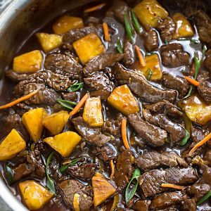 Mongolian beef overlooking pan.