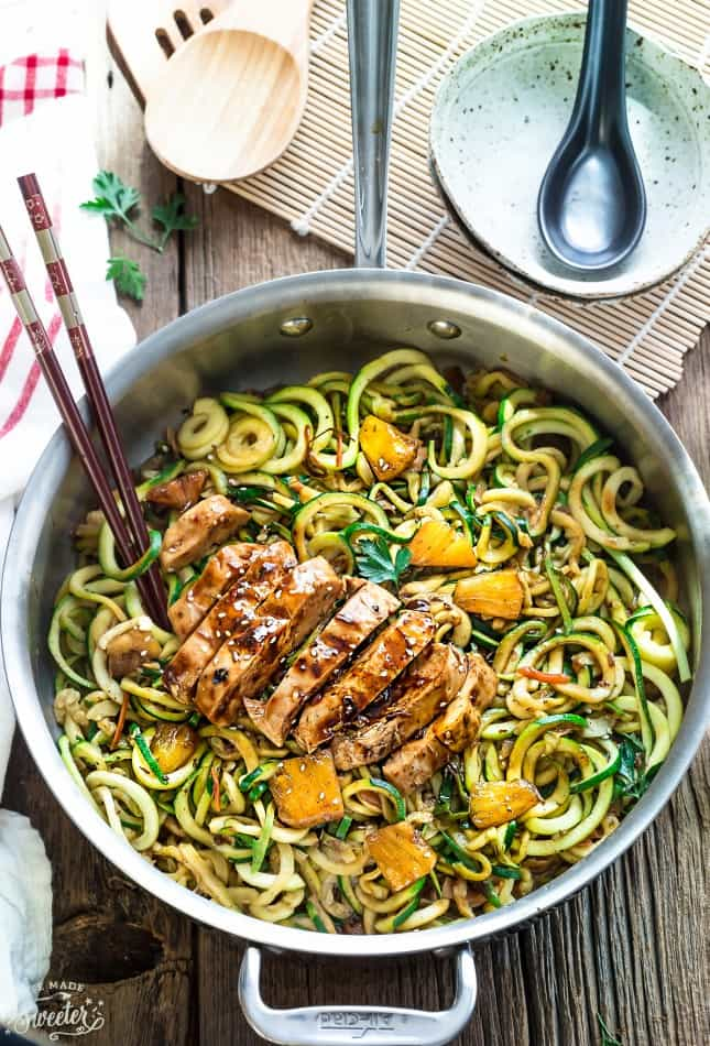 One Pot Teriyaki Chicken Zoodles skillet dinner