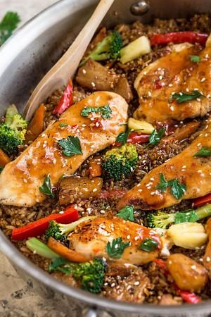 One Pot Sweet Chili Chicken Rice & Quinoa