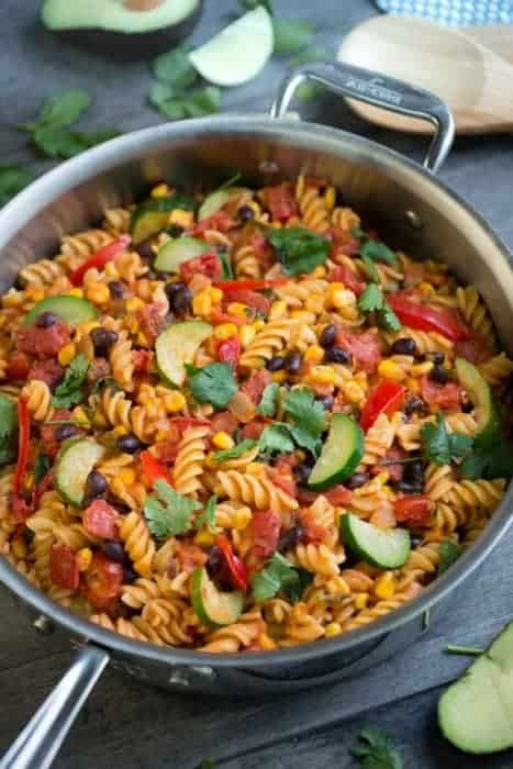 One Pan Taco Pasta Skillet with Vegetables