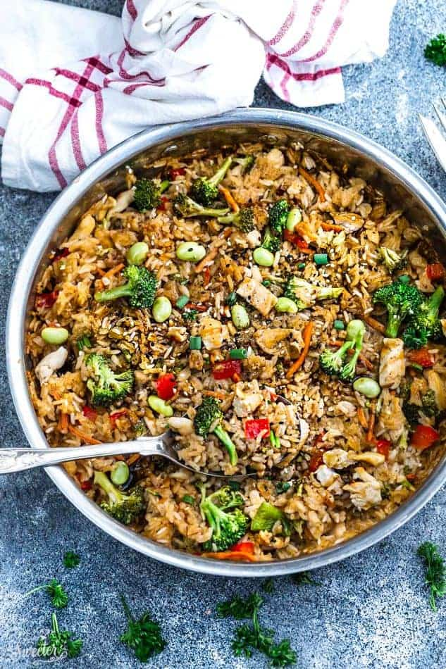 One Pot Teriyaki Rice with Chicken and Vegetables is the perfect easy weeknight meal. Best of all, everything cooks up in just ONE pan and has all the flavors of your favorite takeout restaurant dish. A great Sunday meal prep recipe for your work or school lunchbox or lunch bowl and way better than takeout!