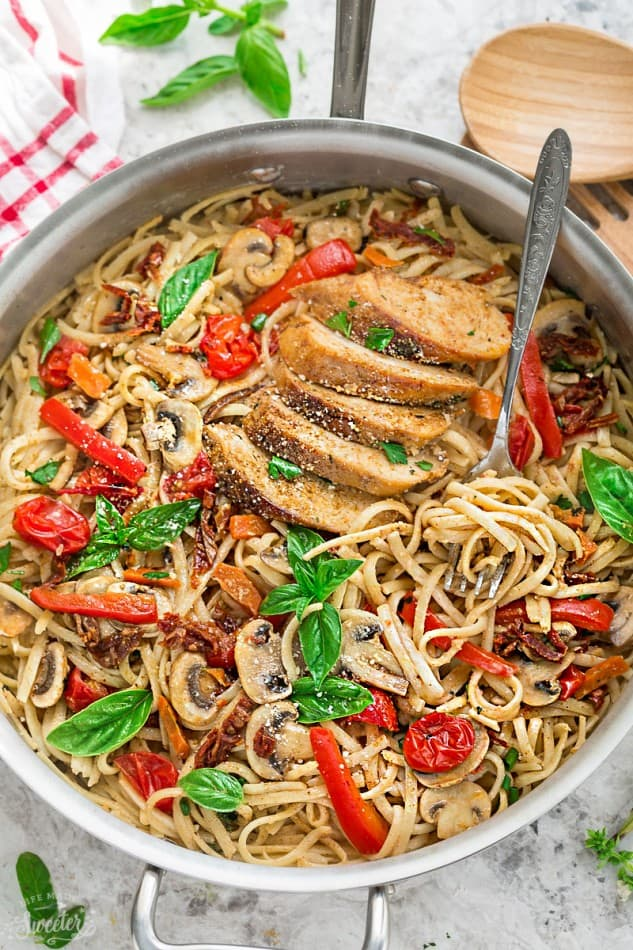 One Pot Tuscan Chicken Pasta skillet dinner