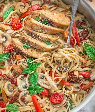 One Pot Tuscan Chicken Pasta makes the perfect easy weeknight meal!