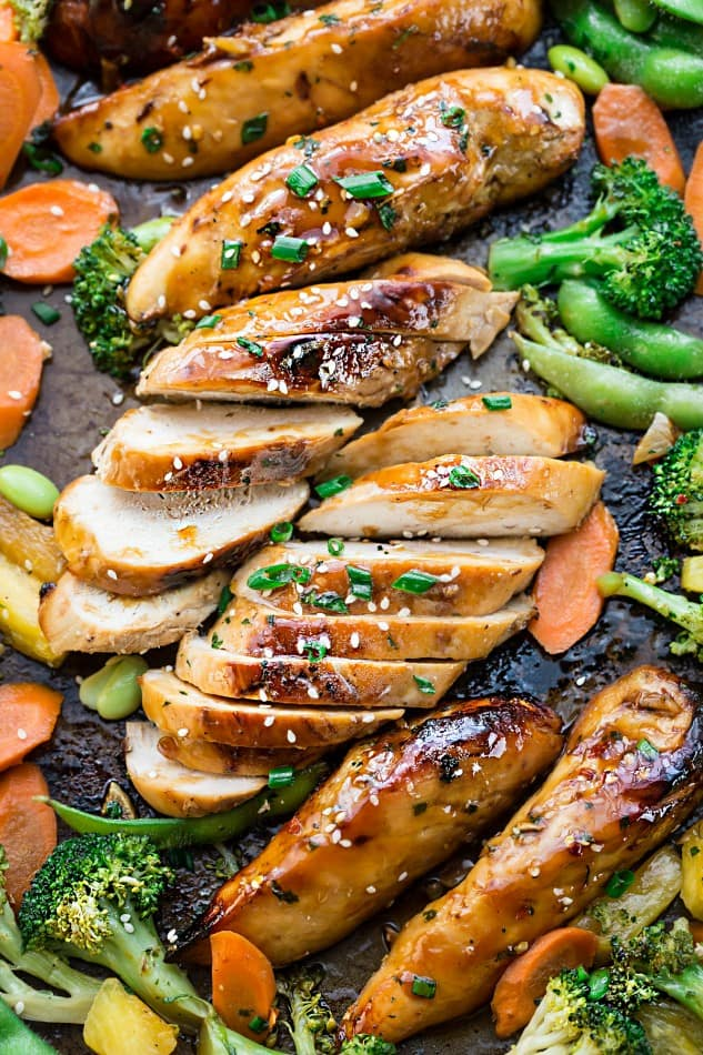 One Sheet Pan Teriyaki Chicken with Vegetables makes the perfect easy weeknight meal! Best of all, everything cooks up onto just ONE sheet pan with minimal cleanup!