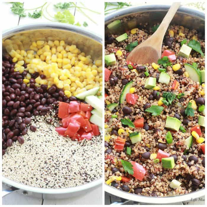 {One Skillet} Mexican Quinoa - An easy and healthy meatless quinoa dish made all in one pan with your favorite Mexican flavors! by @LifeMadeSweeter