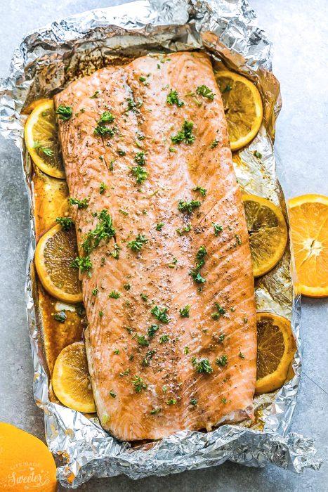 Baked Orange Sesame Salmon in Foil