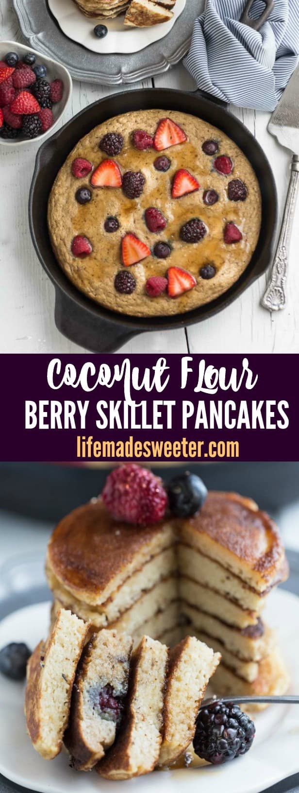 Oven Baked Coconut Flour Berry Skillet Pancakes - soft, fluffy & paleo friendly - the perfect healthy breakfast!