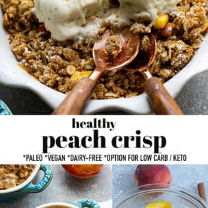 Pinterest collage for peach crisp