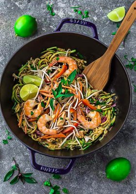 This recipe for Pad Thai Zucchini Noodles (Zoodles) is the perfect easy 30 minute one pan stir-fry meal. Best of all, it's full of all the authentic flavors of the popular restaurant favorite in a grain free version. So delicious and way better and healthier than takeout! Great for Sunday meal prep and packing into school and work lunchboxes and lunch bowls.