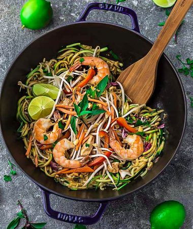 Pad Thai Zoodles {Zucchini Noodles} – Keto / Low Carb / Paleo / Whole30