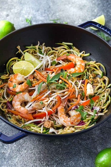 Pad Thai Zoodles Zucchini Noodles Keto Low Carb