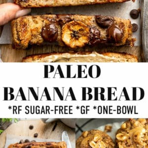 Pinterest image for paleo banana bread recipe.