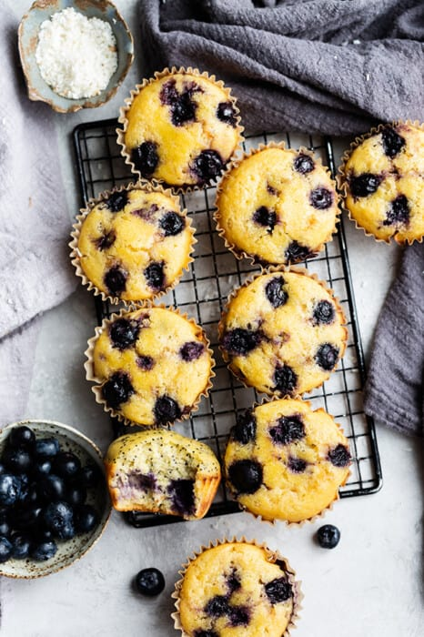 Overhead view of Lemon Blueberry muffins on a cooling rack