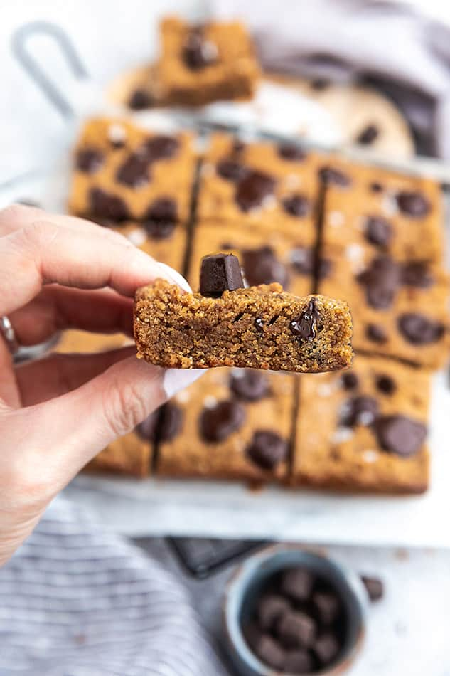 Close up view of chocolate chip cookie bars