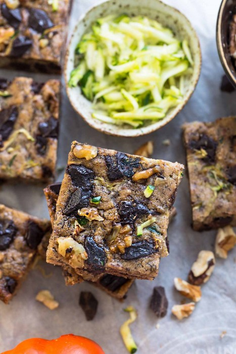 Paleo Pumpkin Zucchini Bars with Chocolate Chunks
