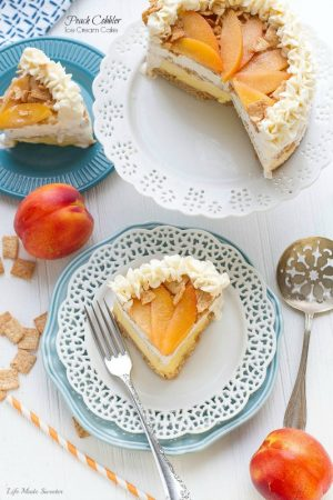 Peach Cobbler Ice Cream Cake with Cinnamon Toast Crunch Cereal crust makes an easy summer dessert