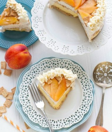 Peach Cobbler Ice Cream Cake with Cinnamon Cereal Crust