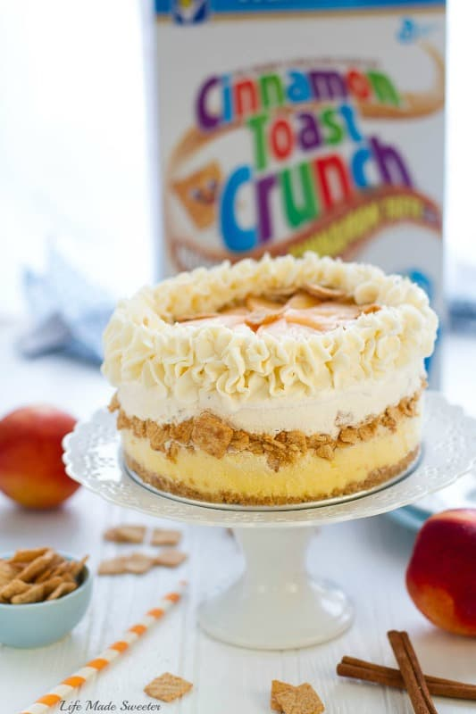 Peach Cobbler Ice Cream Cake with Cinnamon Toast Crunch Cereal crust makes an easy summer dessert