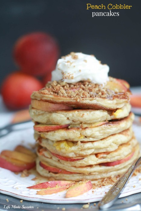 Peach Cobbler Pancakes - fluffy pancakes filled with juicy peaches topped with a warm spiced streusel is like having a delicious peach cobbler for breakfast-10