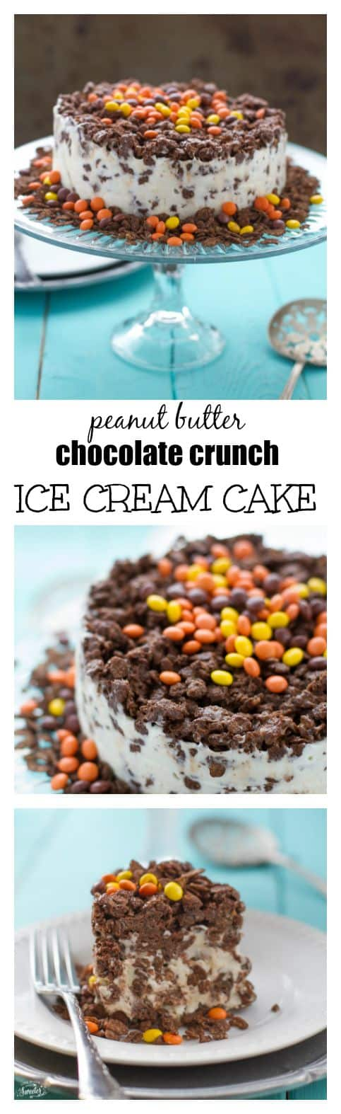 Peanut Butter Chocolate Crunch Ice Cream Cake is so easy to make with only 5 ingredients.