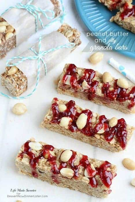 Chewy No-Bake Peanut Butter and Jelly Granola Bars