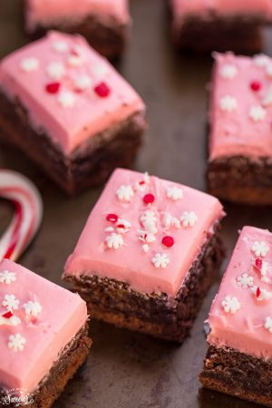 Peppermint Frosted Brownies make the perfect holiday treat
