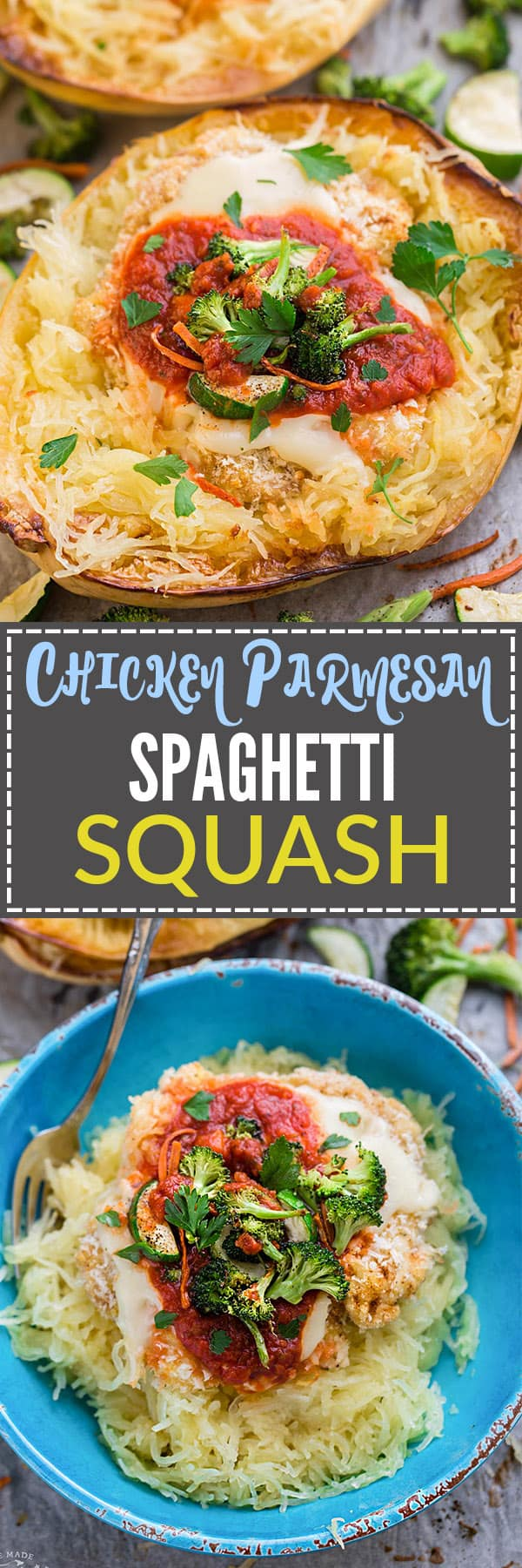 Chicken Parmesan Spaghetti Squash Bowls make the perfect easy one pan meal. Best of all, it's so easy to customize with your favorite veggies and takes just 15 minutes of prep time!
