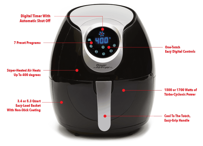 Power Air Fryer XL appliance with labeled features