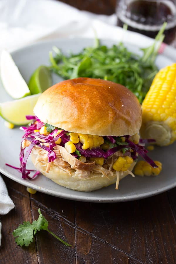 Pulled Honey Lime Chicken Sandwiches