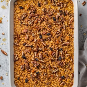 A Pumpkin Baked Oatmeal in a Large White Pan Shown From the Top