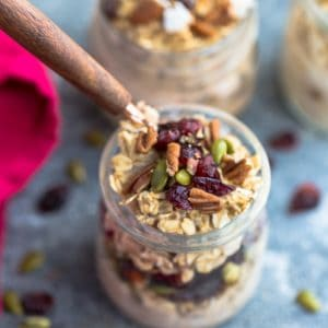 Pumpkin Overnight Oats - 8 Ways - simple no-cook make-ahead oatmeal just perfect for busy mornings. Best of all, easy to customize with your favorite flavors. Almond Joy, Apple Cinnamon, Banana Nut, Blueberry, Carrot Cake, Peanut Butter & Jelly, Pumpkin Cranberry and Strawberry.