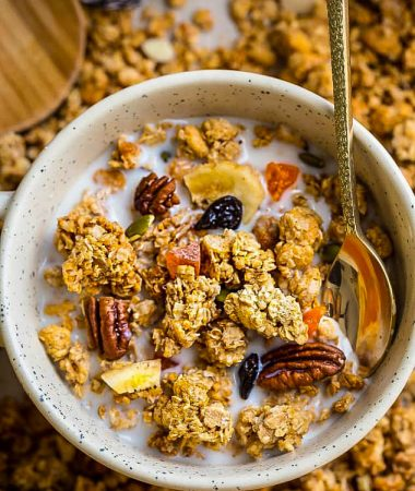 Pumpkin Granola Clusters makes the perfect healthy breakfast, but so crunchy and delicious you'll want to have it for dessert too! Best of all, this easy granola recipe is vegan, gluten-free and refined sugar free.