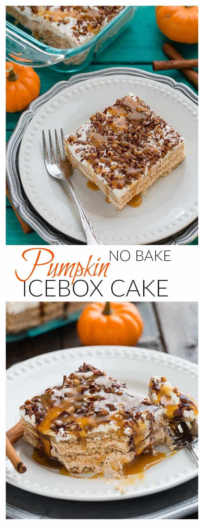 Pumpkin Ice Box Cake is the perfect easy no-bake fall dessert!