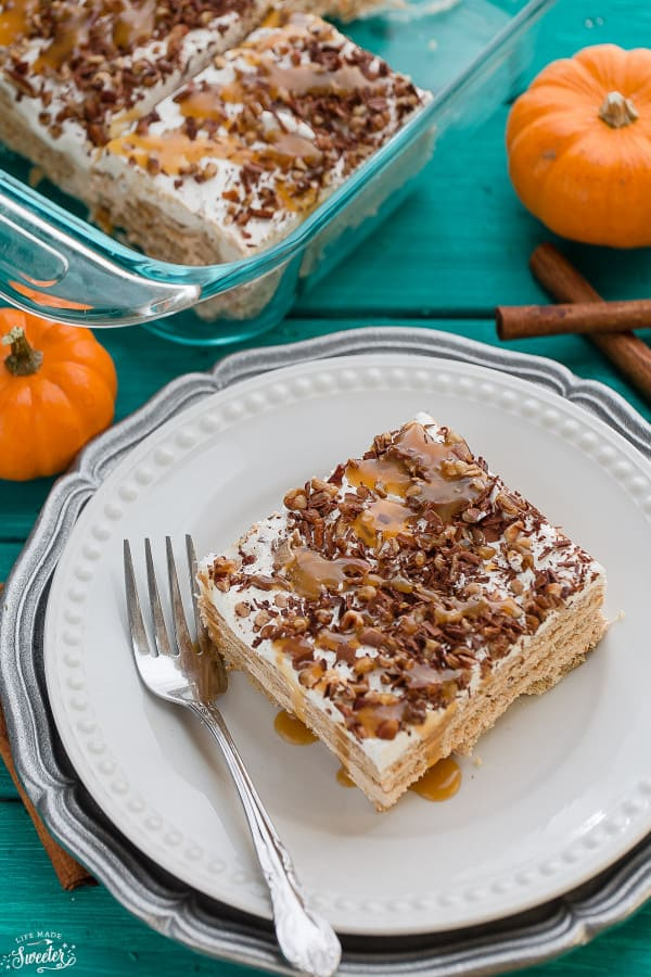 Pumpkin Ice Box Cake makes the perfect easy fall dessert