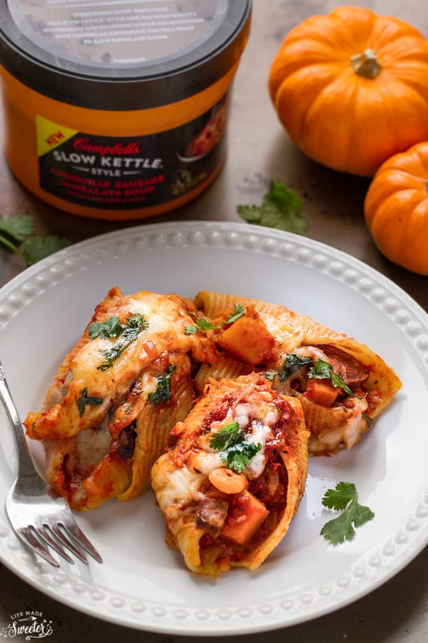 Pumpkin Jambalay Stuffed Shells make a delicious and easy weeknight dish