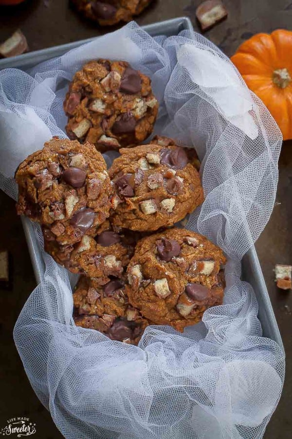 Pumpkin Chocolate Twix Cookies