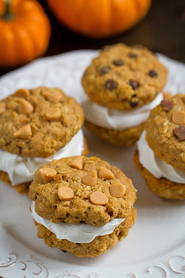 Flourless Pumpkin Oatmeal Sandwich Cookies make the perfect snack for fall