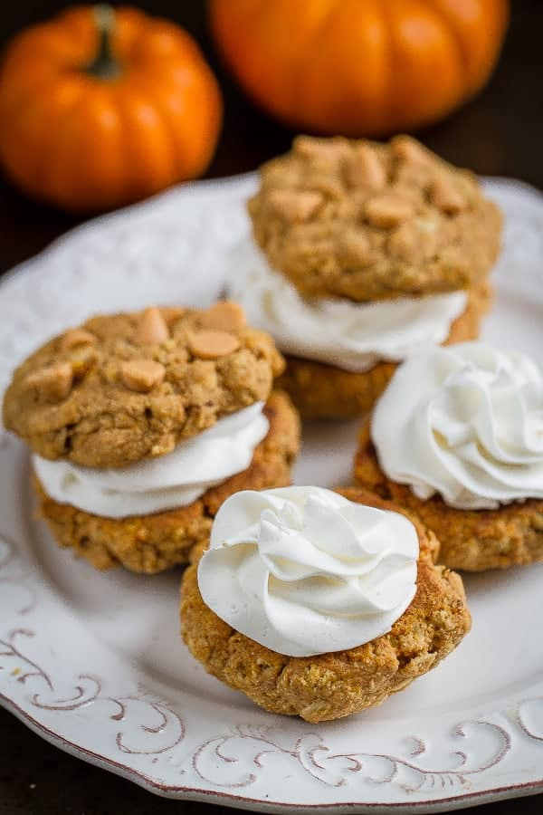 Flourless Pumpkin Oatmeal Sandwich Cookies make the perfect snack for fall