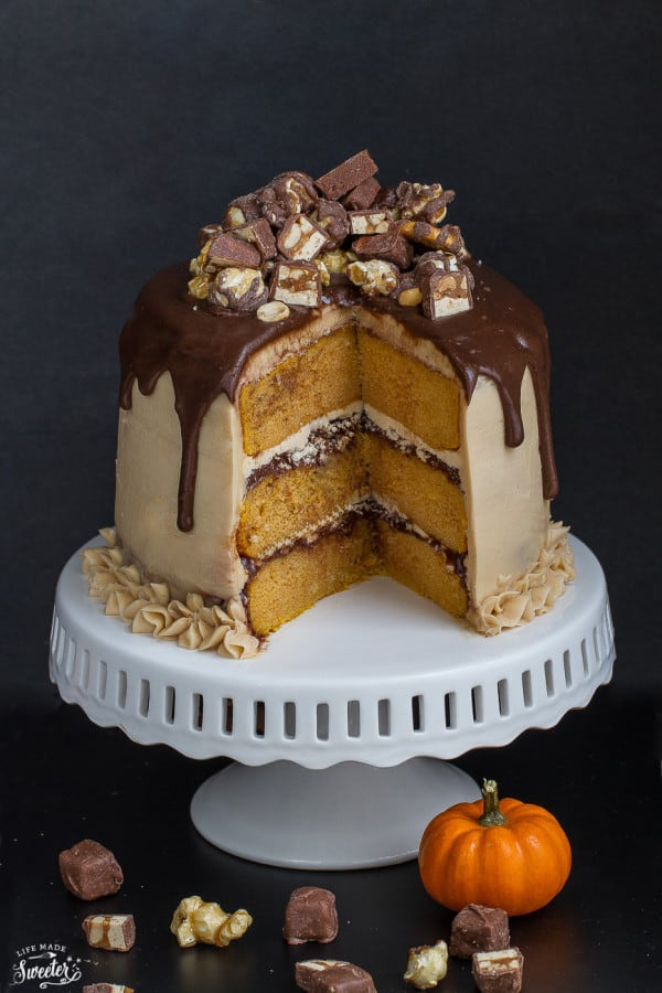 Pumpkin Snickers Layer Cake with Salted Caramel Frosting makes an impressive dessert for any occasion