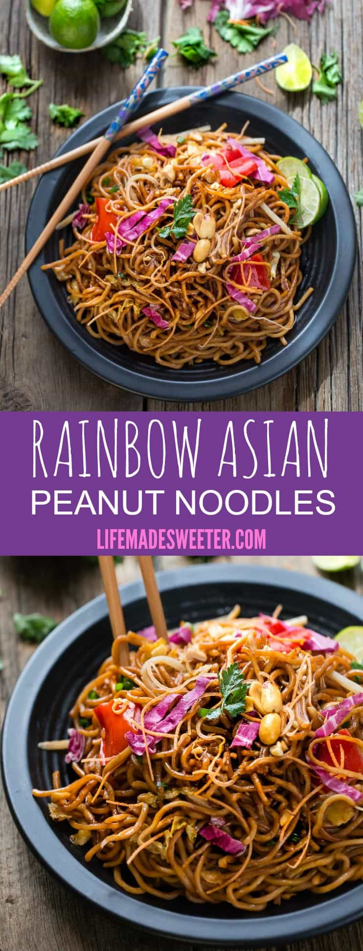 Rainbow Asian Peanut Noodles makes the perfect easy weeknight meal taking less than 30 minutes to make!