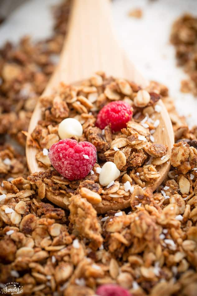 Raspberry White Chocolate Granola makes the perfect healthy & easy snack!