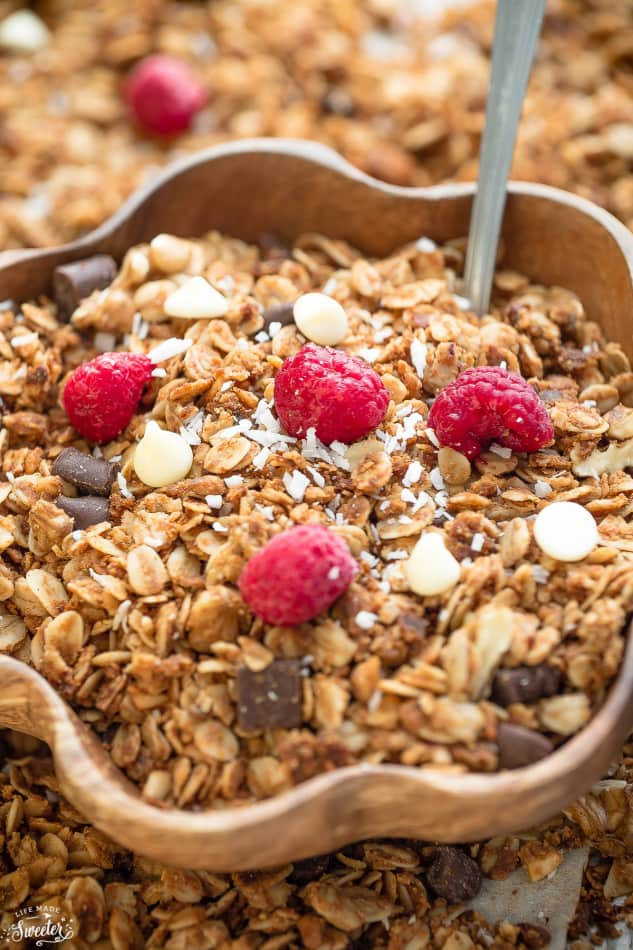 Raspberry White Chocolate Granola makes the perfect healthy snack!!