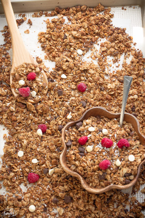 Raspberry White Chocolate Granola makes the perfect healthy snack..