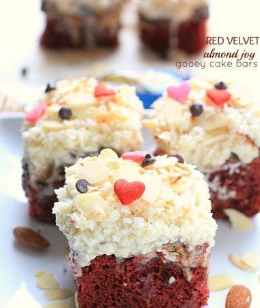 Red Velvet Almond Joy Gooey Cake Bars